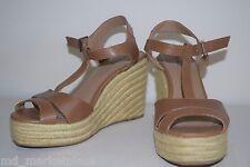 MUDD Womens Cognac Faux Leather T Platform Wedge Shoes Heels Sandals Buckle 8.5