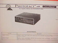 1976 LEAR JET CAR AUTO 8-TRACK STEREO TAPE PLAYER SERVICE MANUAL MODEL A-255