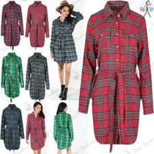 Cotton Check Dresses for Women with Belt