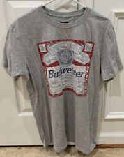 Gray Budweiser Beer T Shirt Tee ~ Vintage Look ~ New Without Tags ~ Men's Large