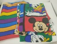 Vintage DISNEY Sheet Material Fabric Mickey Minnie Mouse Plato Donald Twin