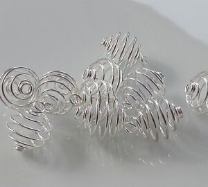 Jewellery Craft Design  - Findings Silver Plated 12mm Spiral Cage Cages PACK