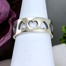 Vintage 925 Sterling Silver cut out Hearts Wide Band Ring Sz 6 Adjustable