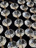 Antique Vintage Glass Cut Crystal Chandelier Lamp Parts Octagon Prisms Lot Of 54