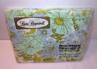Percale NOS Blue Lavender Green Twin Fitted Sheet Floral Lady Pepperell SEALED