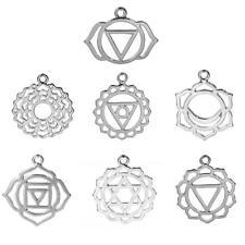 7 Chakra Pendants Charms Silver Tone apx 30cm Hollow Filigree Yoga Healing