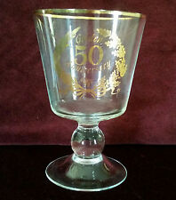 "Vintage ""50th Silver Anniversary"" Gold Plated Wine Glass"