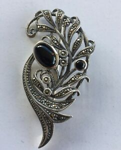Vintage Marcasite Black Onyx? Brooch Pin 925 Silver Art Deco Jewellery