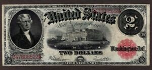 1917 $2 Legal tender Note, Fr39, VF++, Attractive