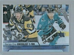 2016-17 Upper Deck Series 1 Checklist Clear Cut #199 Sidney Crosby/Joe Pavelski