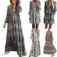 Womens Boho Leopard Print  Ruffle Deep V Neck Short Sleeve Maxi Dress/Midi Dress