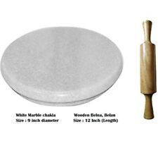 White Heavy Base Marble Chakla With Wooden Belan/Marble Roti Maker