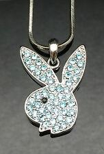 Silver Blue Crystal PLAYBOY BUNNY Pendant Necklace Swarovski Rabbit Girl Gift