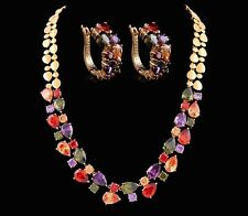 14k Gold Necklace Earring Set made w Swarovski Crystal Multicolor Stone Wed Prom