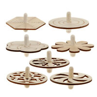 7pcs Creative Unfinished Wood Wooden Spinning Top for DIY Children Kids Toys