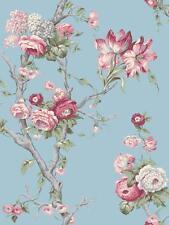 Wallpaper Van Luit Designer Large Floral Vine Red Roses on Blue Background