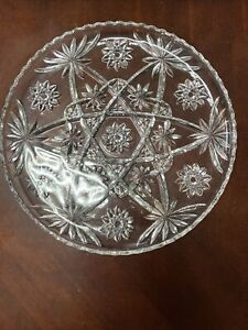 """Vintage Crystal Clear Cut Glass Round Serving Platter/Tray Star Of David 13.5"""""""