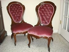 Pr. Victorian ROSEWOOD Belter Laminated Scroll pattern chairs