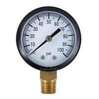 """50mm 1/4"""" 0.25"""" 1305 0/100PSI Low Pressure Gauge for air steam water Bottom+Case"""