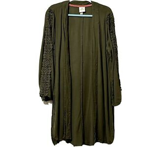 Knox Rose Size L Olive Green Duster W/ Lace Embellishments