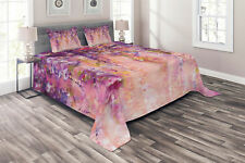 Tree Quilted Coverlet & Pillow Shams Set, Watercolor Wisteria Blooms Print