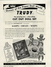 1947 PAPER AD Trudy Queen Of The Paper Doll World Cut Out Dolls
