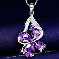 Purple & Silver Crystal Diamond Necklace Jewellery Xmas Gifts For Her Women Wife