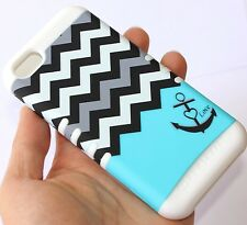 For iPhone 5C - HARD & SOFT RUBBER HYBRID IMPACT CASE BLUE WHITE CHEVR