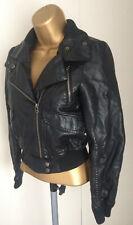 Topshop Vegan Faux Leather Biker style Jacket Black Ladies Size 6 EU34