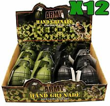 12 x TOY HAND GRENADES WITH REALISTIC SOUND & LIGHT IN GREEN AND BLACK