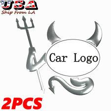 2X Chrome Logo Devil Demon Sticker Decal Car SUV Truck Trunk Emblem 3D Silver