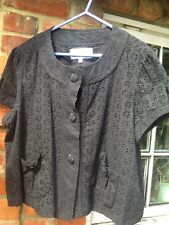 PAPAYA BLACK COTTON BRODERIE ANGLAISE SUMMER JACKET/TOP. SIZE 18