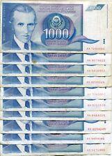 Lot Yugoslavia 10 1000 Dinar Dinara 1991 Communist Banknote Nicola Tesla F VF