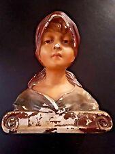 Statue buste de Marianne en plâtre polychrome 32cm