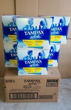 216 Tampax Active Pearl Regular Tampons Unscented Motion Fit Protection Plastic