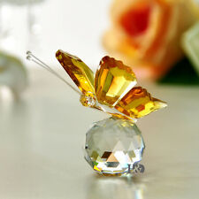 Yellow Crystal Butterfly Animals Paperweight Wedding Favor Collectibles Gifts