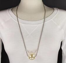 """Cream big huge faux pearl necklace bead beaded 29"""" long statement sweater"""