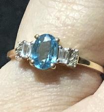 Gorgeous 9k Gold Ratanakiri Blue And White Zircon Ring Size 8