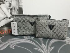 2  x New Womens GREY Guess Logo Make Up/Travel Clutch Bags Gifts Sets