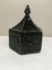 Vintage Tiara Black Amethyst Eagle and Stars Candy Dish with Lid