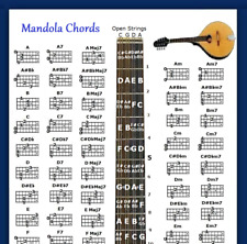 "MANDOLA CHORDS POSTER 13""X19"" WITH NOTE LOCATOR - 60 CHORDS"