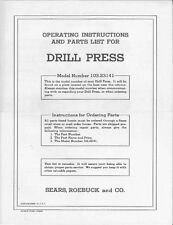"1951 Craftsman 103.23141  15"" Drill Press-Floor Model Instructions"