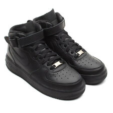 Nike Air Force 1 Mid Black  Leather Basketball Shoes GS Grade School 314195-004