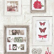 Muriva 131503 Live Laugh Love Wallpaper Roll - Red