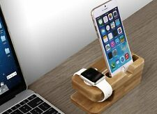 Holz Natur iPhone X XR XS 8 7 Apple Watch Dockingstation Ladestation Halterung
