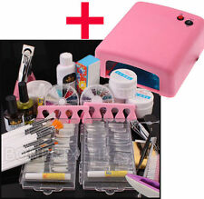 Kit complète PRO Ongle Manucure UV Gel Stras 15 pinceau +140 Capsule + Lampe 36W