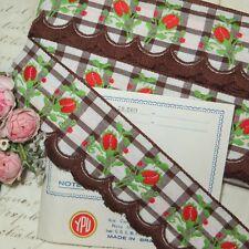 12y Bolt Vtg Chocolate Brown Cotton Trim Scallop Gingham Jacquard Ribbon Cafe
