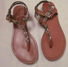 COACH CLARKSON tan snak python ankle T strap wedge flats sandals shoes 6.5 B