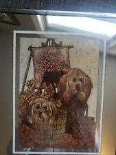 Decorative Vintage Brytone Mirror with image of dogs puppies in baskets