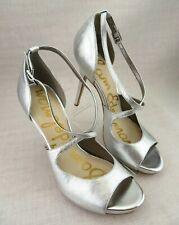 1aed4043732508 Sam Edelman Elizabeth Platform Silver Leaf Buckle Heels Sandals Women s ...